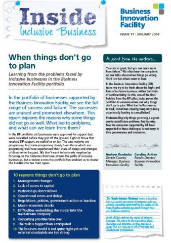 When things don't go to plan - Learning from the problems faced by  inclusive businesses