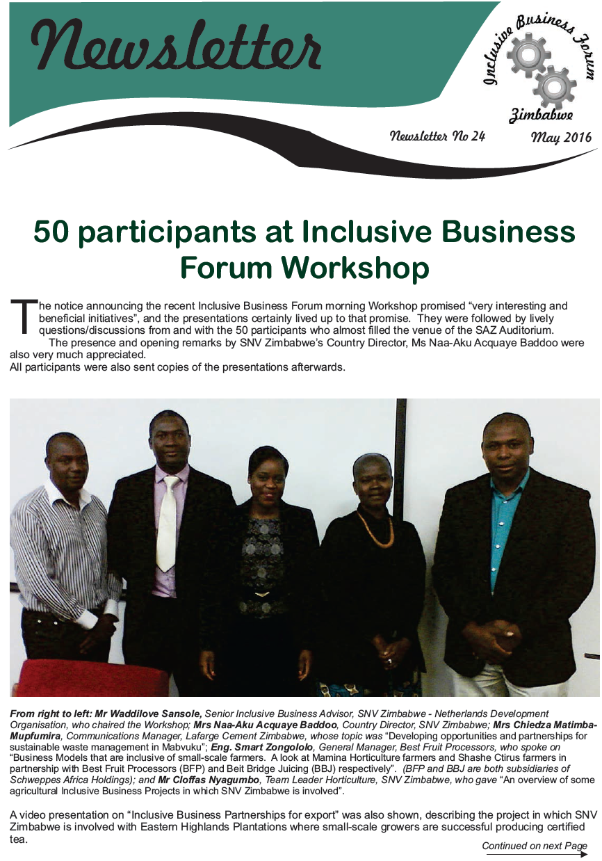 News from the IB Forum of Zimbabwe - May 2016 Newsletter